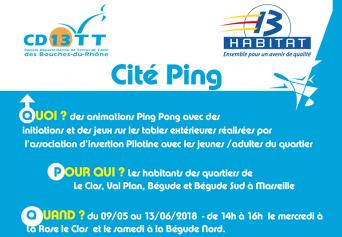 """Animation """"Cité Ping""""  à Val Plan, à la Bégude et au Clos la Rose. Du 9 mai au 16 juin"""