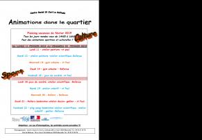 Animations des vacances de février - Centre social St just La Solitude - 13014