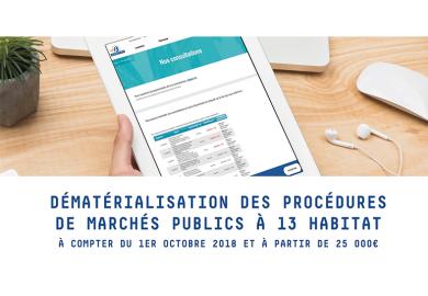 Dématérialisation des procédures de marchés publics à 13 Habitat