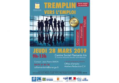 """Le Centre Social Flamants Iris organise la 14ème édition du """" Tremplin vers l'emploi"""" , le jeudi 28 mars"""